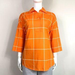 AKRIS PUNTO windowpane kimono sleeve blouse
